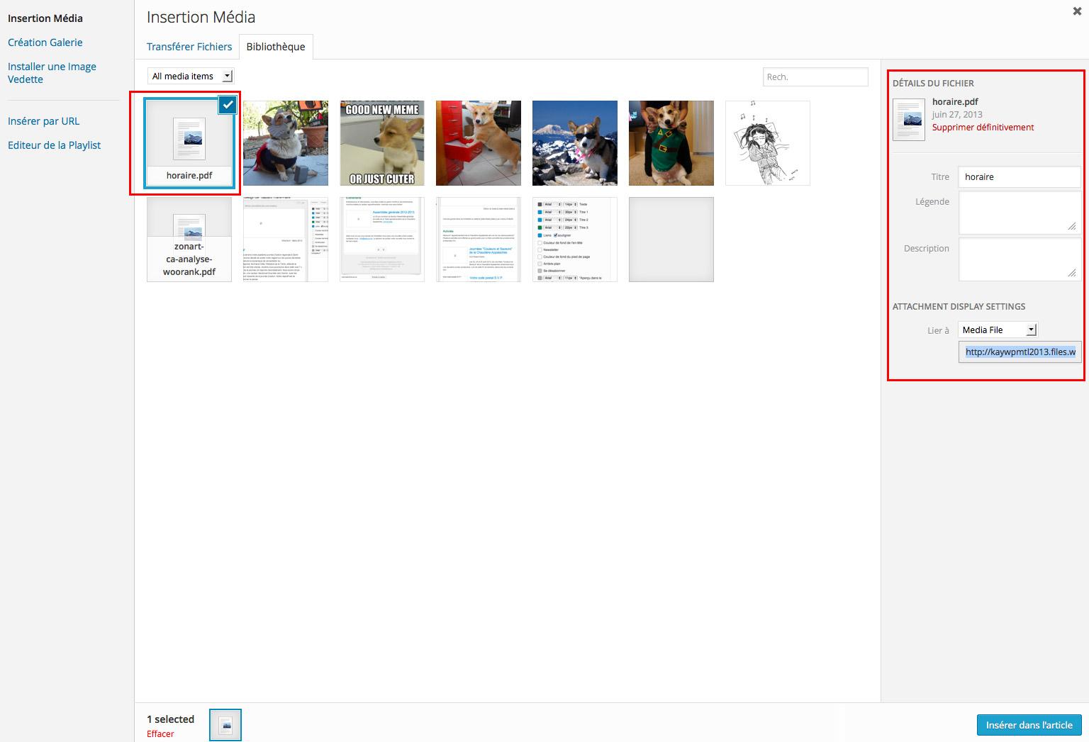 Insérer un PDF dans un article