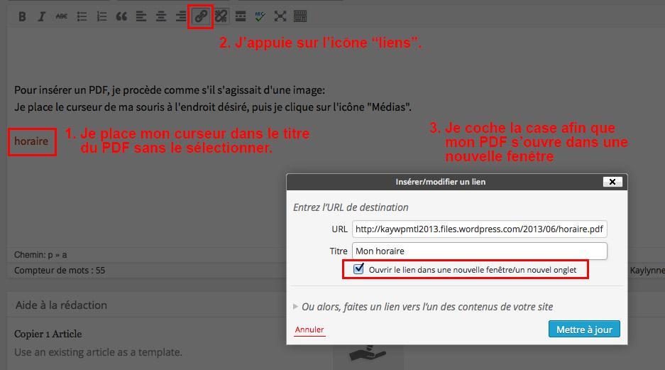 Modifier le lien d'un PDF.